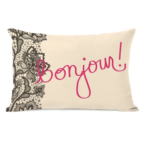 Bonjour Lace - Ivory Hot Pink 14x20 Pillow by OBC