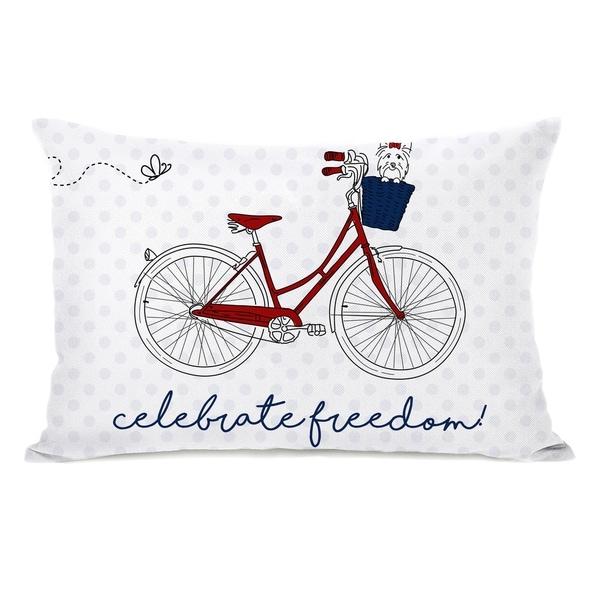 Celebrate Freedom Bike - White 14x20 Pillow by OBC