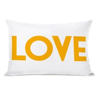 Love Text - White Gold 14x20 Pillow by OBC