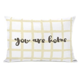 You Are Home Crosshatch  - Yellow 14x20 Pillow by OBC