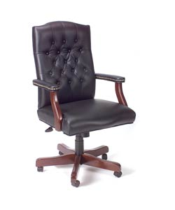 Boss Mahogany Wood/Black Vinyl Traditional High-back Executive Swivel Chair