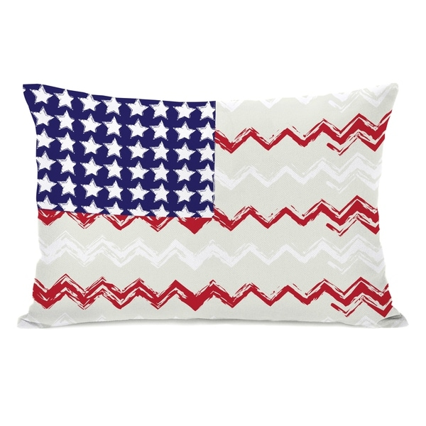 Chevron American Flag 14x20 Pillow by OBC