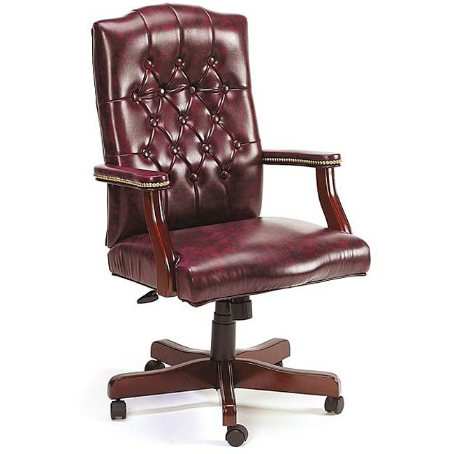 Traditional Executive Swivel Chair In Oxblood Vinyl Free