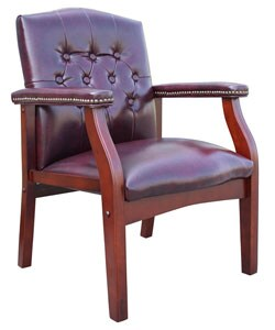 Boss Button-tufted Vinyl Guest Chair with Antique-brass Nailhead Trims