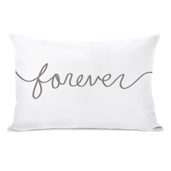 Forever Mix & Match - White Gray 14x20 Pillow by OBC
