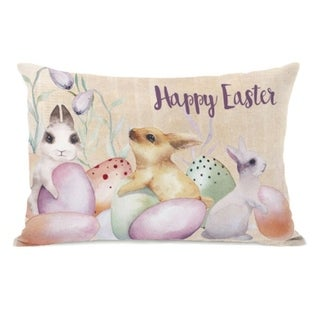 Happy Easter bunnies and eggs - Multi 14x20 Pillow by OBC