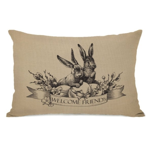 Welcome Friends Vintage Bunnies - Tan 14x20 Pillow by OBC