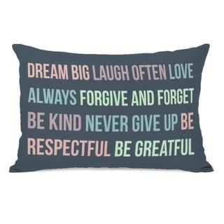 Dream Big Laugh Often - Navy Multi 14x20 Pillow by OBC