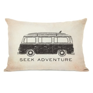 Vintage Van Seek Adventure - Tan 14x20 Pillow by OBC