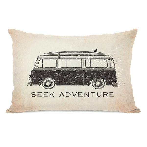 Vintage Van Seek Adventure - Tan 14x20 Pillow by OBC