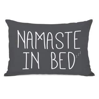Namaste In Bed Solid - Gray 14x20 Pillow by OBC