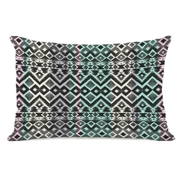 Split Colors - Black Teal 14x20 Pillow by OBC