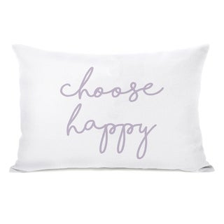 Choose Happy Wildflower - White 14x20 Pillow by OBC