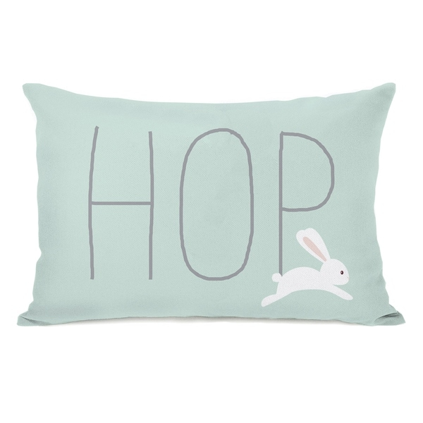 Bunny Hop - Mint 14x20 Pillow by OBC