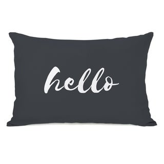 Hello Script - Gray 14x20 Pillow by OBC