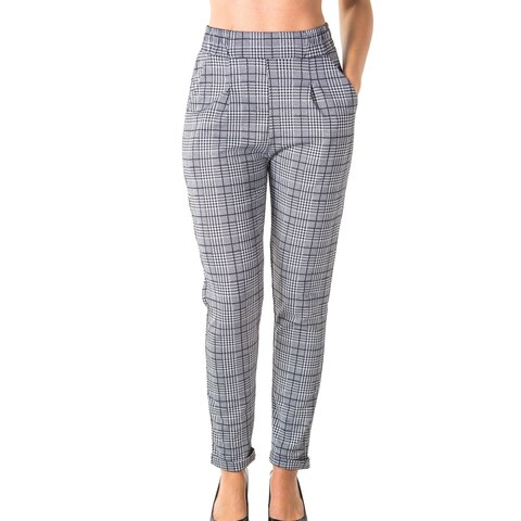 Ladies Casual Plaid Trouser Pants Cuffed Folded Unckle