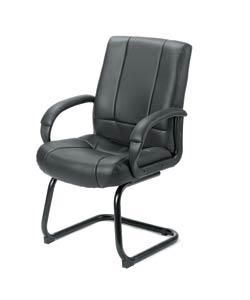 Boss Black Vinyl Mid-back Sled Base Guest Chair