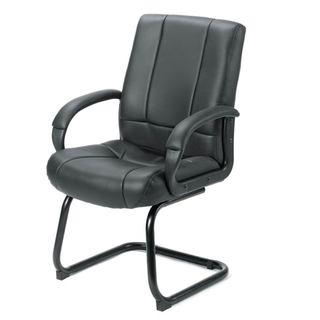 Boss Black Vinyl Mid-back Sled Base Guest Chair