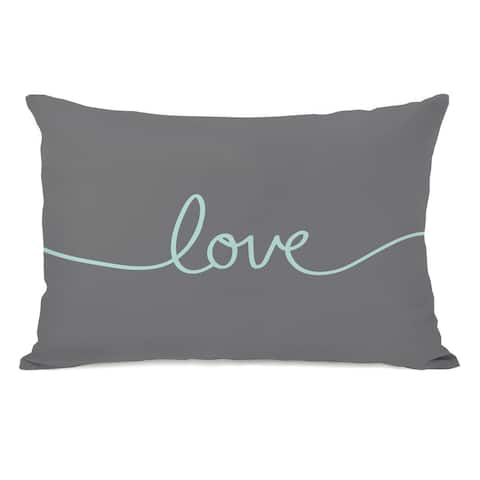 Love Mix & Match - Gray Aqua 14x20 Pillow by OBC