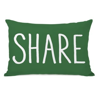 Share - Green White 14x20 Pillow by OBC