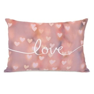 Script Love Pink Bokeh  - Pink 14x20 Pillow by OBC