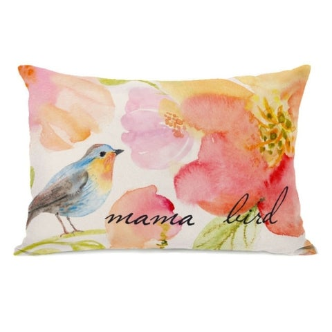 Mama Bird - Multi 14x20 Pillow by OBC