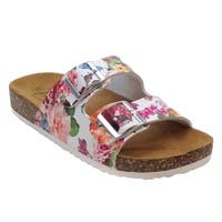 Blue Womens FATIA-AZUKY Flower Printed Comfort Slip On Sandals