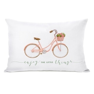 Enjoy The Litte Things Bike - White 14x20 Pillow by OBC