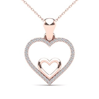 AALILLY 10k Rose Gold 1/10ct TDW Diamond Double Heart Pendant Necklace (H-I, I1-I2)