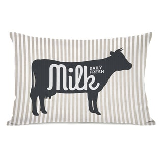 Daily Fresh Milk - Gray 14x20 Pillow by OBC