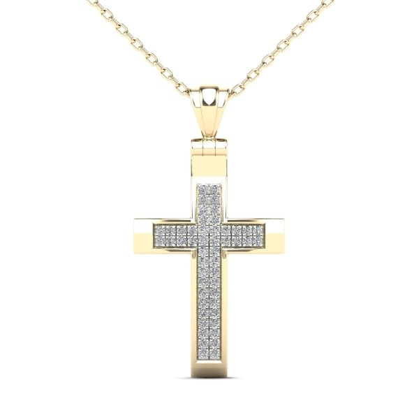 3f1a9b892d85d7 AALILLY 14k Yellow Gold 1/8ct TDW Diamond Cross Pendant Necklace (H-I, I1