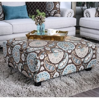 Furniture of America Jall Transitional Blue Fabric Upholstered Ottoman