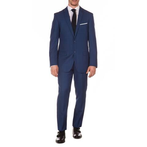 Ferrecci Mens Vintage Style Slim Fit Blue Plaid 2pc Suit