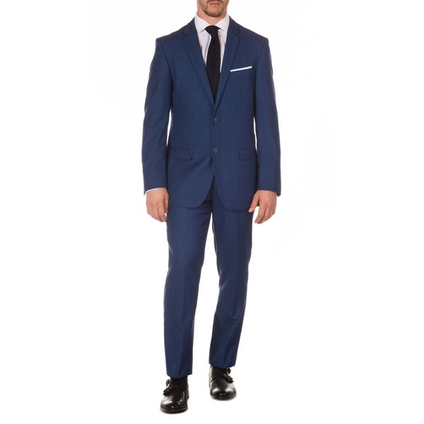 Ferrecci Mens Vintage Style Slim Fit Blue Plaid 2pc Suit