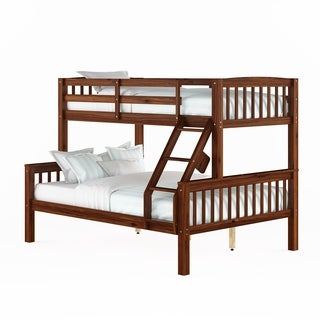 CorLiving Walnut Brown Twin/Single over Full/Double Bunk Bed