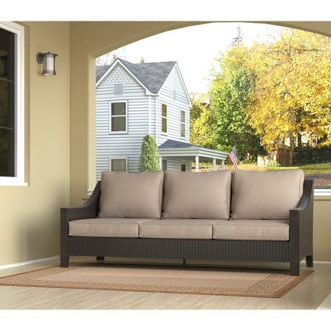 Serta Tahoe Terra Brown Resin Wicker and Olefin Three-seater Outdoor Sofa