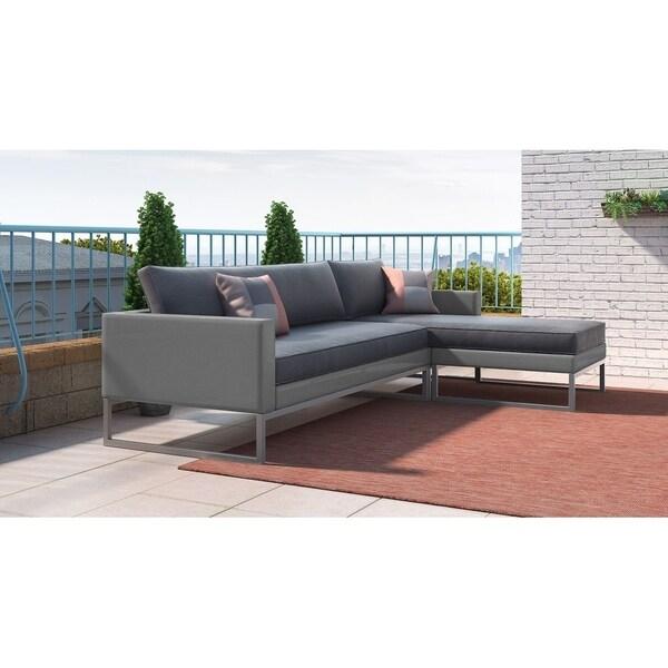 Elle Decor Tropez French Grey Mesh Metal Sectional Sofa