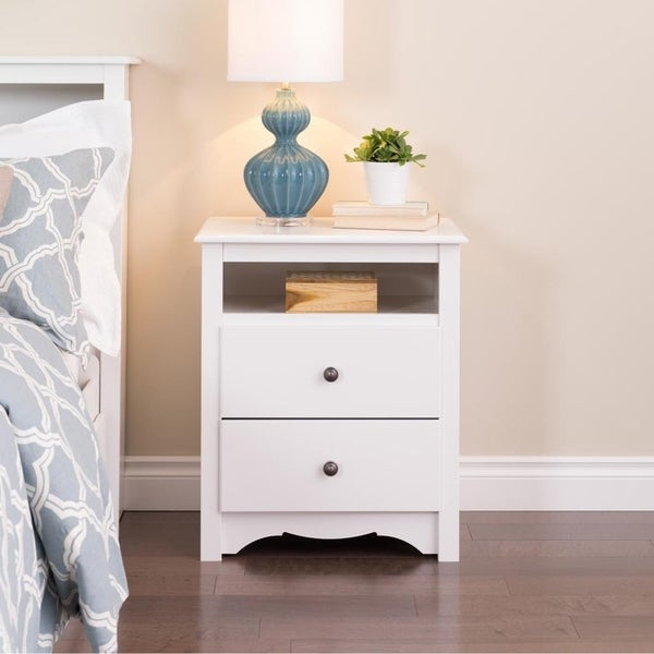 Winslow White 2-drawer and Open Cubbie Nightstand
