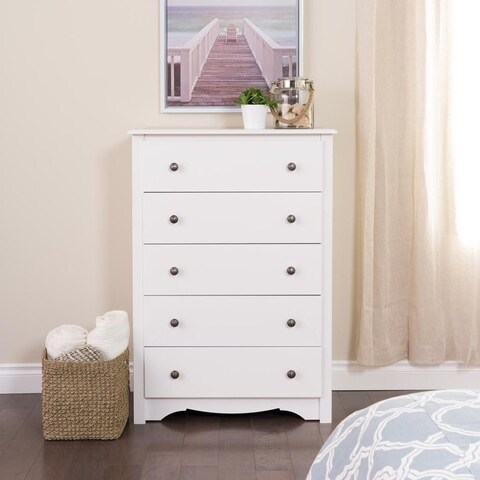 Laurel Creek Easton White 5-drawer Chest