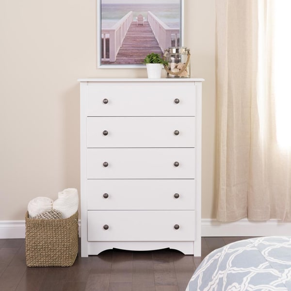 Winslow white 5 drawer chest free shipping today - Shallow dressers for small spaces ...