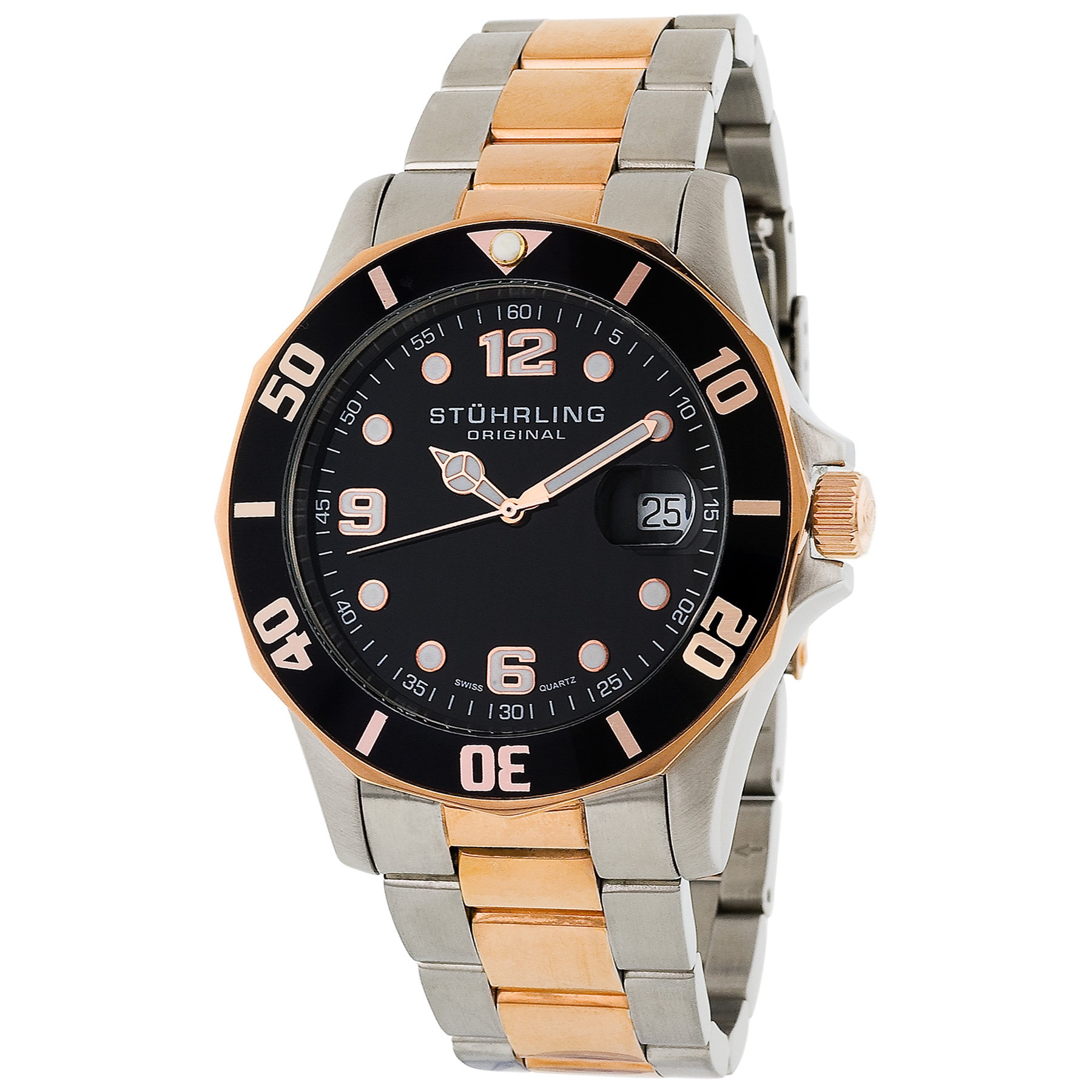 Stuhrling Original Clipper Black Dial Two-Tone Divers Wat...