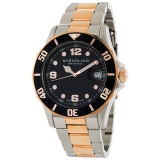 Stuhrling Original Clipper Black Dial Two-Tone Divers Watch