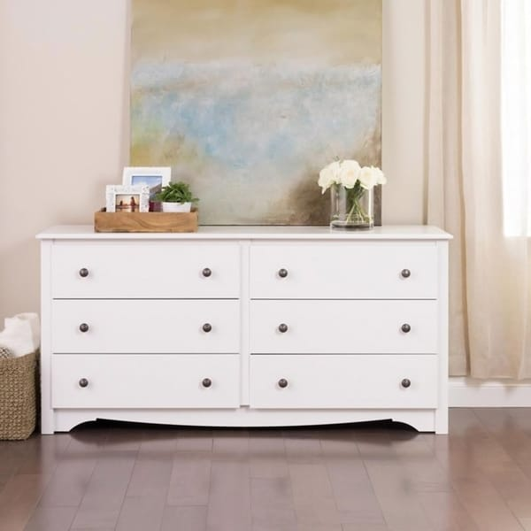 winslow white 6 drawer dresser free shipping today 10468360. Black Bedroom Furniture Sets. Home Design Ideas