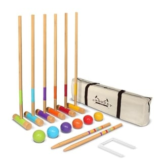 "GoSports Standard Croquet Set - 28"" Mallets for Kids & Adults - Green | Blue | Purple | Orange | Red | Yellow"
