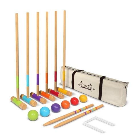 "GoSports Standard Croquet Set - 28"" Mallets for Kids & Adults - Green Blue Purple Orange Red Yellow"