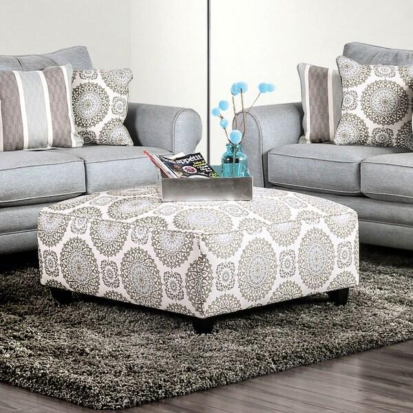 Shop Furniture Of America Cardina Floral Medallion Ottoman