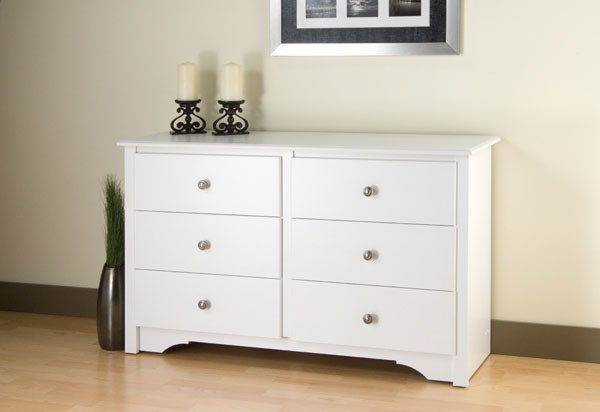 winslow white condo sized 6 drawer dresser free shipping today 10468378. Black Bedroom Furniture Sets. Home Design Ideas