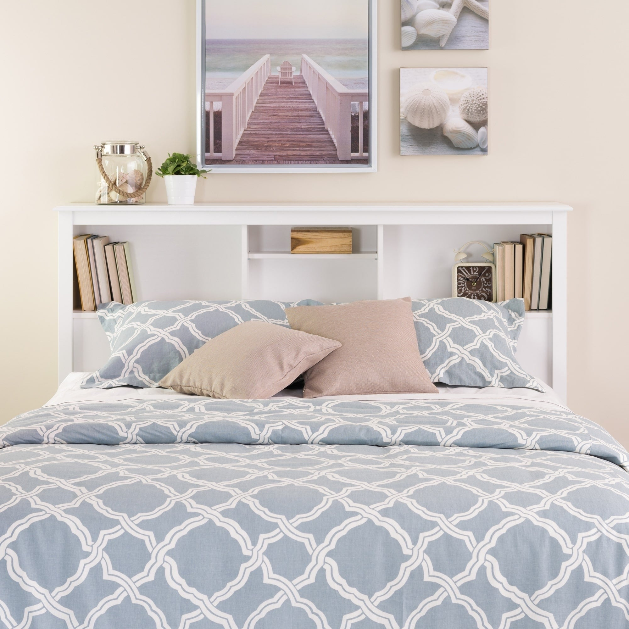 Picture of: Shop Copper Grove Periyar White Full Queen Bookcase Headboard Overstock 20882061