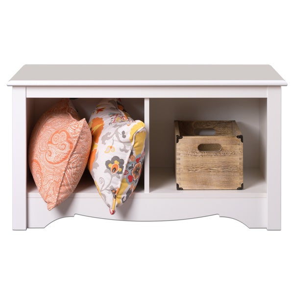 Winslow White Twin Cubbie Storage Bench
