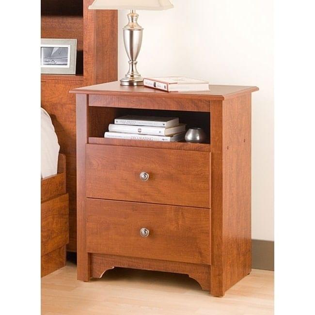 Prepac Chelsea Cherry 2-drawer & Open Cubbie Nightstand, ...